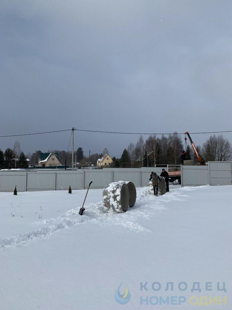 выгрузка колец и домика для колодца зимой вручную