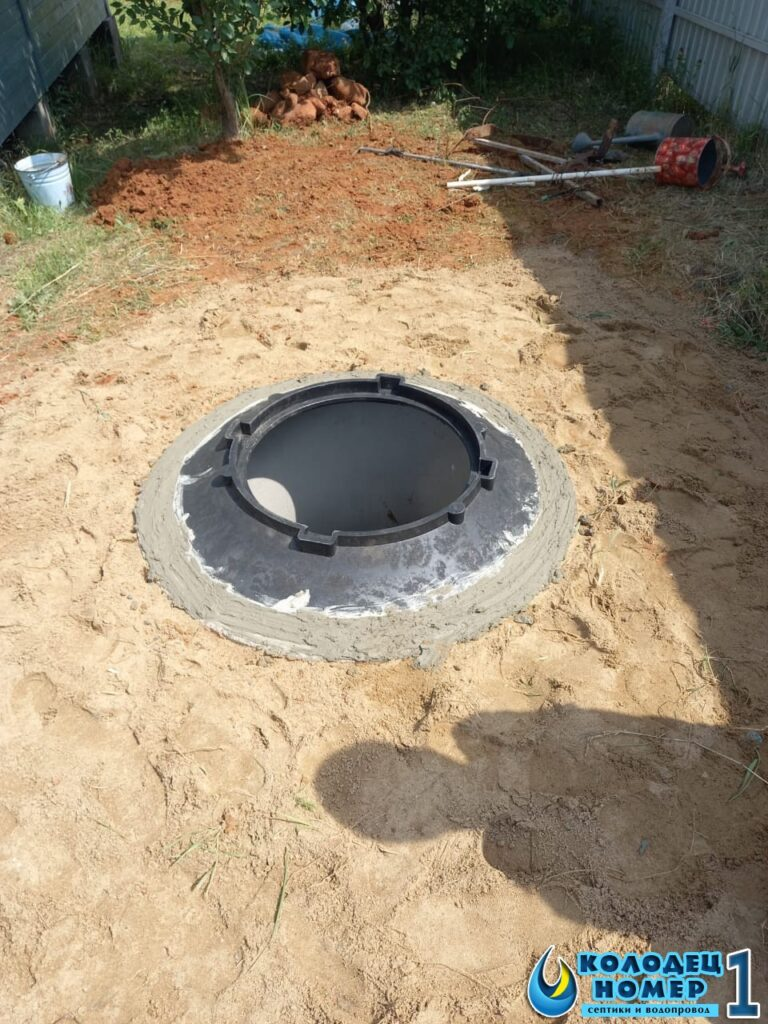 люк для крышки бетонного септика - монтаж