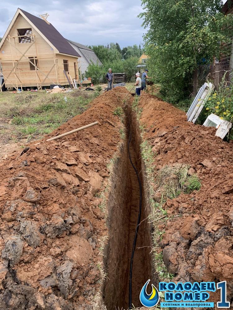 траншея для водоснабжения из колодца